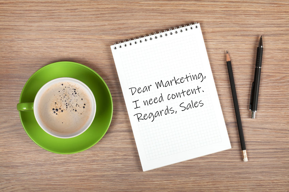 Dear Marketing, I Need Content. Best Regards, Sales