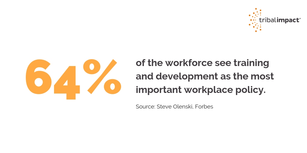 64 of the workforce see training and development as the most important workplace policy