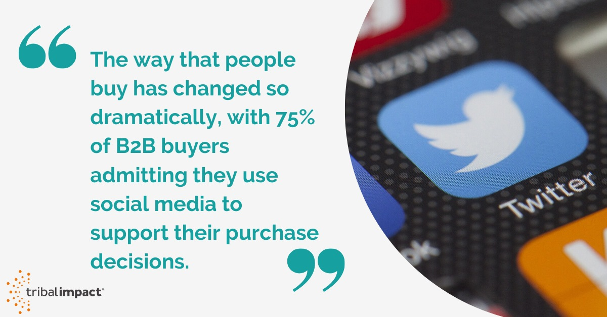 75% of B2B buyers admitting they use social media to support their purchase decisions