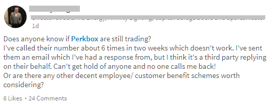 screenshot of a man asking if perkbox are still traiding